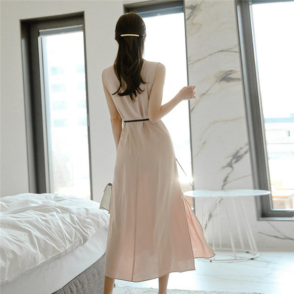 CM-DF060113 Women Casual Seoul Style Single-breasted Shirt Collar Tank Long Dress