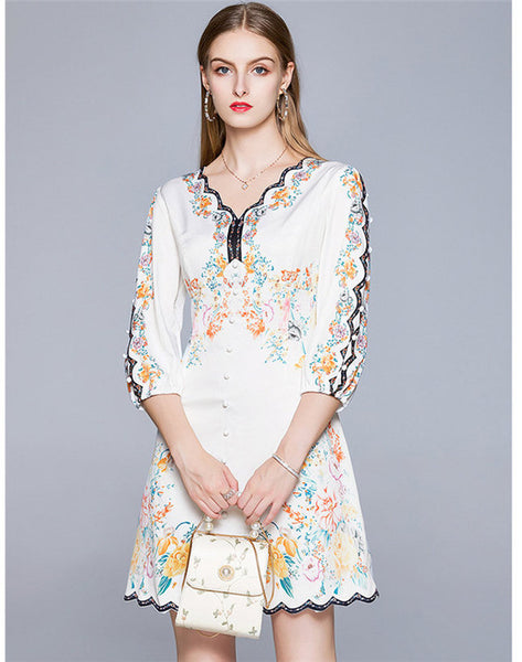 CM-DF061208 Women Charming European Style 3/4 Sleeve V-Neck Floral A-Line Dress - White