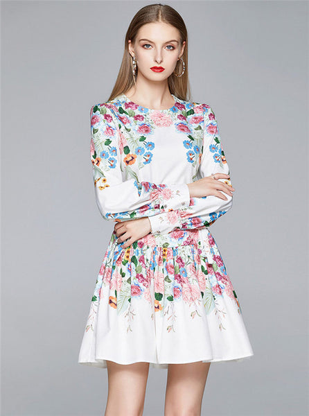 CM-DF061127 Women Elegant European Style Round Neck Flouncing Floral Puff Sleeve Dress