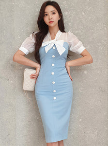 CM-DF061320 Women Casual Seoul Style Tie Bowknot Single-Breasted Bodycon Dress - Blue