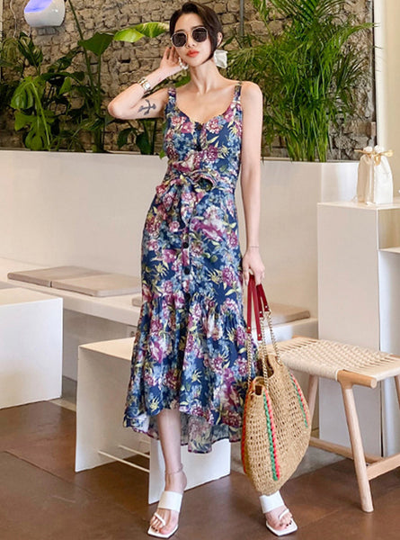 CM-DF062120 Women Charming Seoul Style Tie Waist Floral Print Fishtail Long Dress