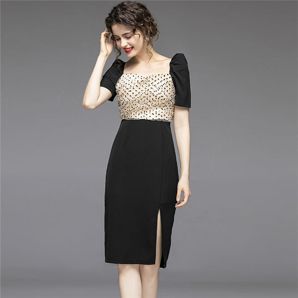 CM-DF062306 Women Retro European Style Dots Gauze Square Collar Puff Sleeve Dress - Black