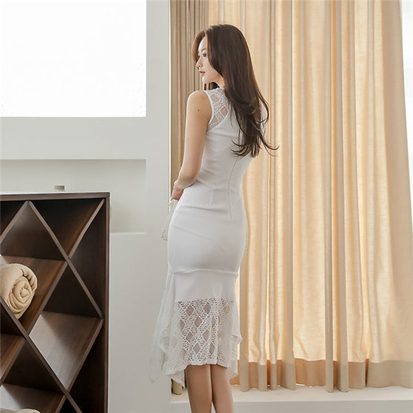 CM-DF070312 Women Casual Seoul Style Round Neck Plaids Fishtail Slim Tank Dress - White