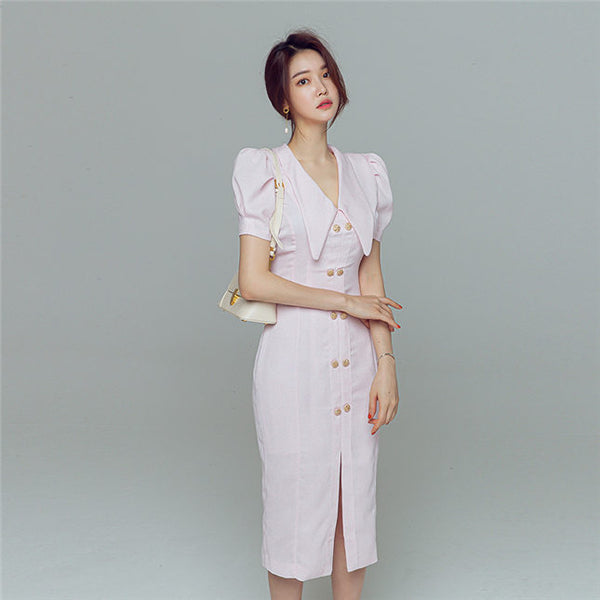 CM-DF071514 Women Elegant Seoul Style Double-Breasted Bodycon Midi Dress (Available in 2 colors)