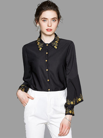 CM-TF072110 Women Casual European Style Floral Embroidery Puff Sleeve Blouse - Black