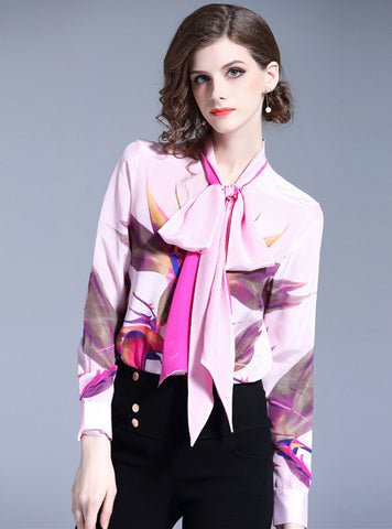 CM-TF081711 Women Casual Seoul Style Long Sleeve Tie Collar Floral Loosen Blouse - Pink