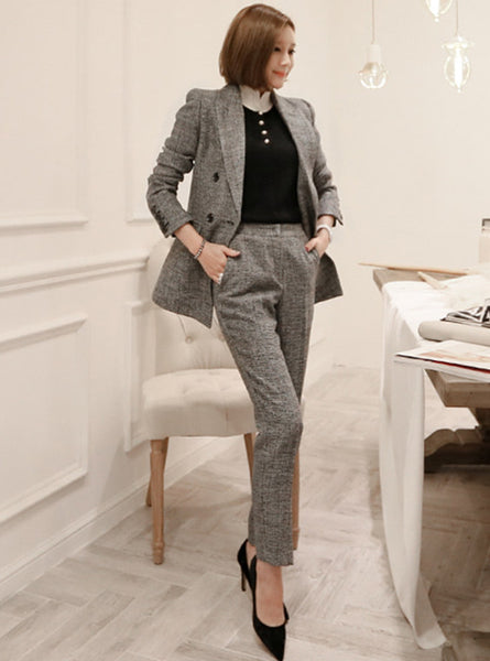 CM-SF082011 Women Elegant Seoul Style Tailored Collar Slim Leisure Long Suits - Set