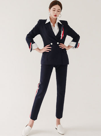 CM-SF082118 Women Elegant Seoul Style Tailored Collar Slim Leisure Suits - Set