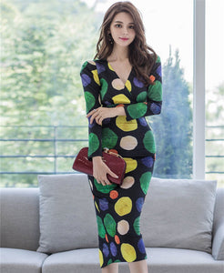 CM-DF090501 Women Casual Seoul Style V-Neck Color Block Dots Slim Long Dress