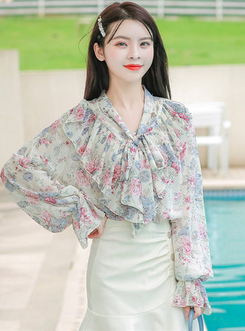 CM-TF121602 Women Charming Seoul Style Tie Collar Flouncing Floral Loosen Blouse