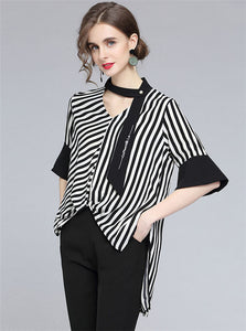 CM-TF031005 Women Casual European Style Tie V-Neck Stripes Dovetail Loosen Blouse