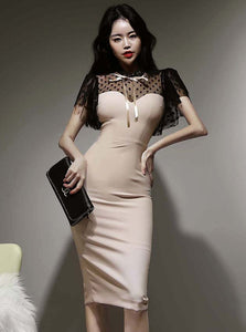 CM-DF033120 Women Retro Seoul Style Gauze Dots Splicing Skinny Dress - Apricot
