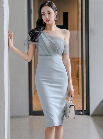 CM-DF040302 Women Elegant Seoul Style Gauze Off Shoulder High Waist Slim Dress - Light Blue