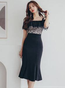 CM-DF040308 Women Elegant Seoul Style Lace Flouncing Boat Neck Fishtail Slim Dress - Black