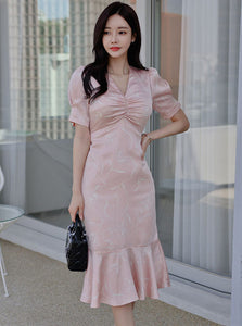 CM-DF040507 Women Casual Seoul Style Pleated V-Neck Tie Waist Fishtail Dress - Pink