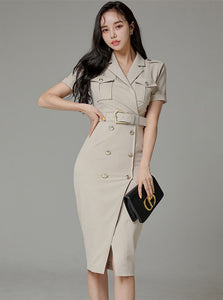 CM-DF040804 Women Elegant Seoul Style Double-Breasted Tailored Collar Bodycon Dress