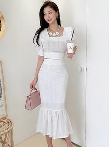 CM-SF041307 Women Preppy Seoul Style Square Collar Puff Sleeve Fishtail Dress Set