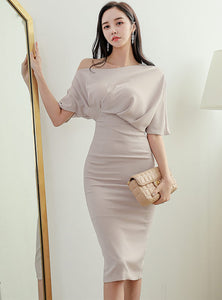 CM-DF041816 Women Casual Seoul Style Batwing Off Shoulder High Waist Slim Dress