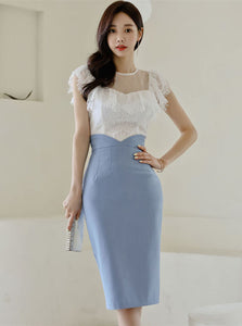 CM-SF041918 Women Charming Seoul Style Lace Blouse With High Waist Slim Skirt - Set