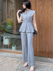 CM-SF042326 Women Casual Seoul Style Belted Waist V-Neck Slim Long Suits - Set (Available in 2 colors)
