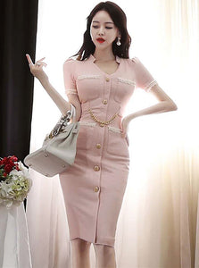 CM-DF042520 Women Elegant Seoul Style Single-Breasted V-Neck Chain Waist Slim Dress - Pink