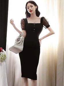 CM-DF042801 Women Casual Seoul Style Square Collar Gauze Short Sleeve Bodycon Dress - Black