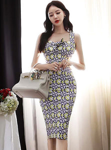 CM-DF042806 Women Casual Seoul Style Bowknot Collar Floral Slim Straps Dress