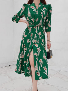 CM-DF042817 Women Casual Seoul Style Tailored Collar Floral Split Long Dress - Green