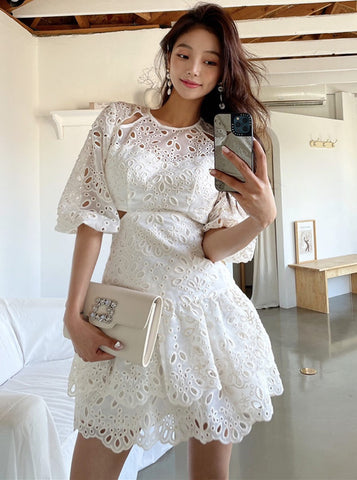 CM-DF051216 Women Casual Seoul Style Hollow Out Floral Puff Sleeve Dress - Beige