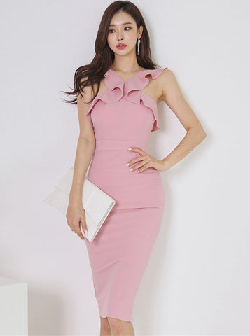 CM-DF051217 Women Elegant Seoul Style Flouncing Off Shoulder Slim Tank Dress - Pink