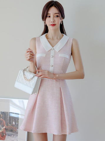 CM-DF051219 Women Elegant Seoul Style Doll Collar Flouncing Tank A-Line Dress - Pink