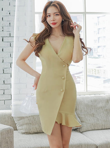 CM-DF051220 Women Casual Seoul Style V-Neck Single-Breasted Fishtail Dress (Available in 2 colors)