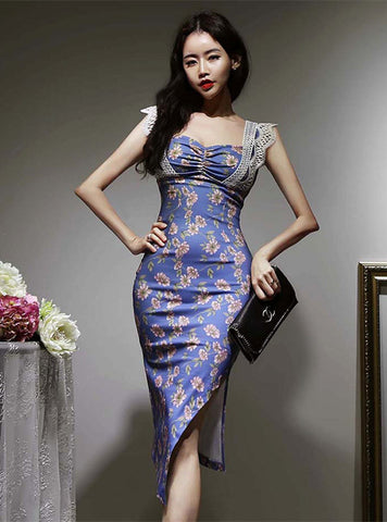 CM-DF051407 Women Retro Seoul Style High Waist Lace Splicing Floral Dress