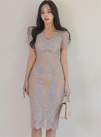 CM-DF051409 Women Casual Seoul Style V-Neck Fitted Waist Lace Slim Dress