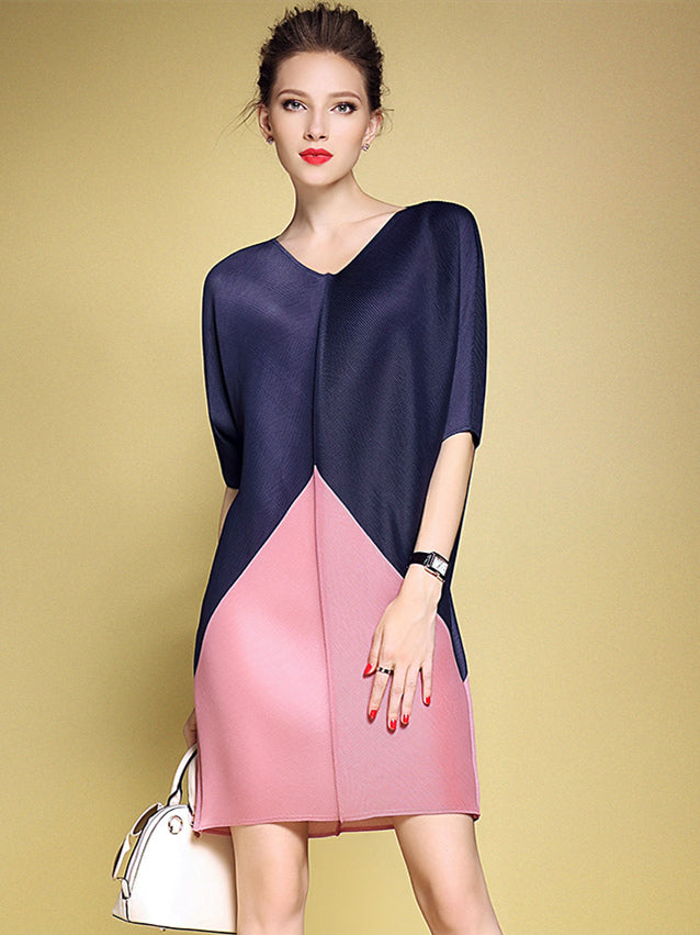 CM-DF091434 Women Elegant European Style Batwing Loosen Dress - Blue