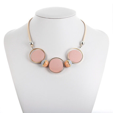 CM-AX300007 Women Trendy Beads Geometric Collar Necklace - Pink