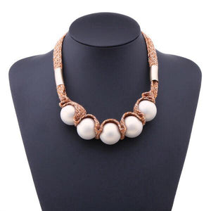 CM-AX300009 Women Trendy Chunky Beads Candy Style Necklace - White