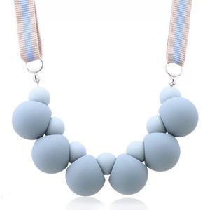 CM-AX300011 Women Trendy Candy Round Beads Necklace - Blue