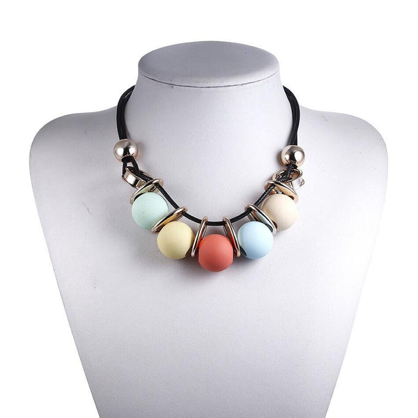CM-AX300012 Women Trendy Colorful Round Beaded Chain Necklace