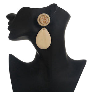 CM-AX300016 Women Trendy Vintage Style Wood Waterdrop Earrings  - Apricot