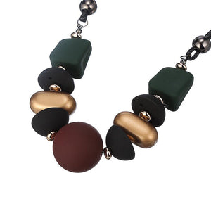 CM-AX300017 Women Trendy Ethnic Style Wood Beads Pendants Statement Necklace