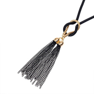 CM-AX300018 Women Casual Seoul Style Sweater Tassel Statement Necklace