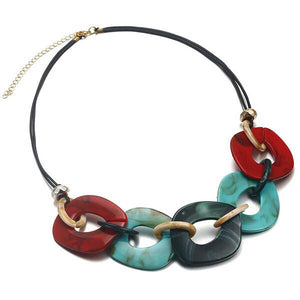 CM-AX300021 Women Trendy Style Acrylic Geometric Pendant Chunky Necklace