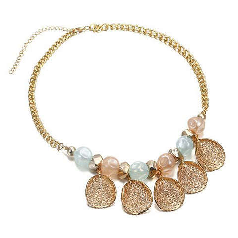 CM-AX300022 Women Trendy Style Candy Leaf Design Beaded Necklace