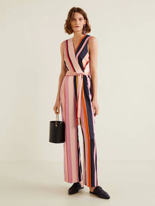CM-J092540 Women Casual Seoul Style V-Neck Tie-Wrap Striped Sleeveless Jumpsuit - Pink
