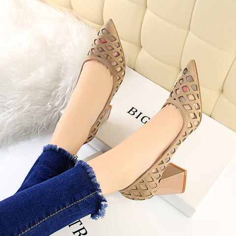 CM-SH121833 Women Casual Easy Matching Suede Pointed Solid Flats - Khaki
