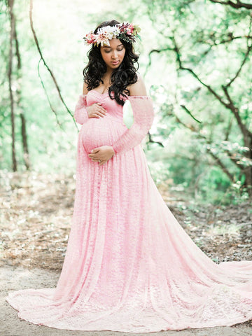 CM-M122117 Women Elegant Seoul Style Off Shoulder Lace Maternity Maxi Dress - Pink