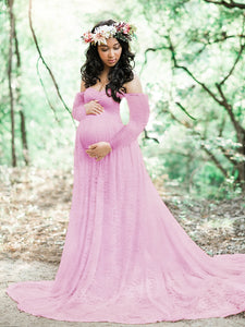 CM-M122117 Women Elegant Seoul Style Off Shoulder Lace Maternity Maxi Dress - Purple