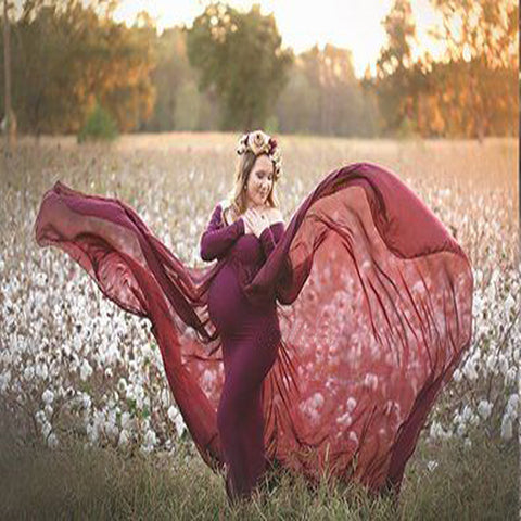 CM-M122120 Women Elegant Seoul Style Patchwork Floor Length Maternity Dress - Wine Red