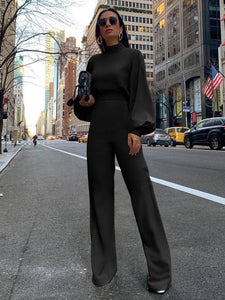 CM-J082042 Women Casual European Style High Neck Lantern Sleeve Solid Jumpsuit - Black